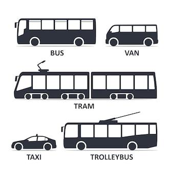 Набор иконок типа общественного транспорта. автобус, микроавтобус, трамвай, такси, троллейбус.