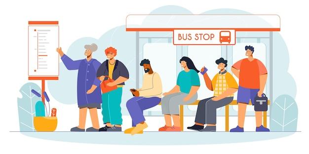 Composizioni piatte nella fermata del tram dell'autobus di servizio di trasporto pubblico con l'illustrazione dei passeggeri in attesa del bordo di partenza delle informazioni sui clienti