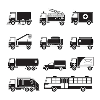 Public utility truck and bus vehicles object silhouette set