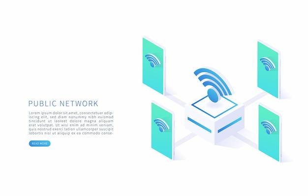 공용 무선 네트워크 무료 인터넷 영역 및 무료 wi-fi 핫스팟 wi-fi 기호 및 스마트폰 벡터 일러스트와 함께 벡터 아이소메트릭