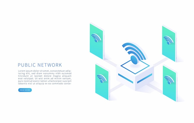Public wireless network free internet zone and free wifi hotspot vector isometric with wifi sign and smartphone vector illustration