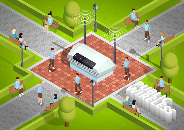 Public wireless technology outdoor isometric poster