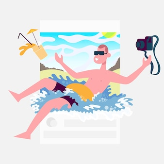 Publication guyは、カクテルとカメラを手に、ブロガーのためのコンセプトで入浴します。