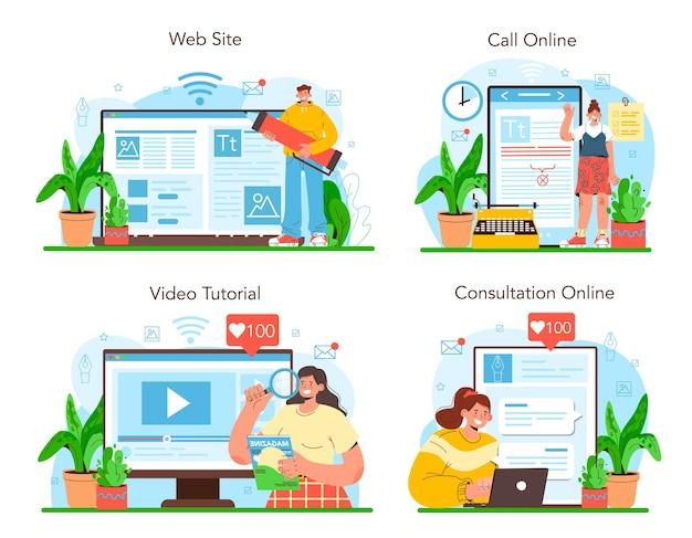 パブリッシングエディターのオンラインサービスまたはプラットフォームセット。働くジャーナリスト