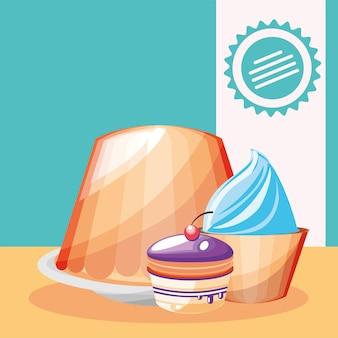 푸딩 컵케익 달콤한 디저트