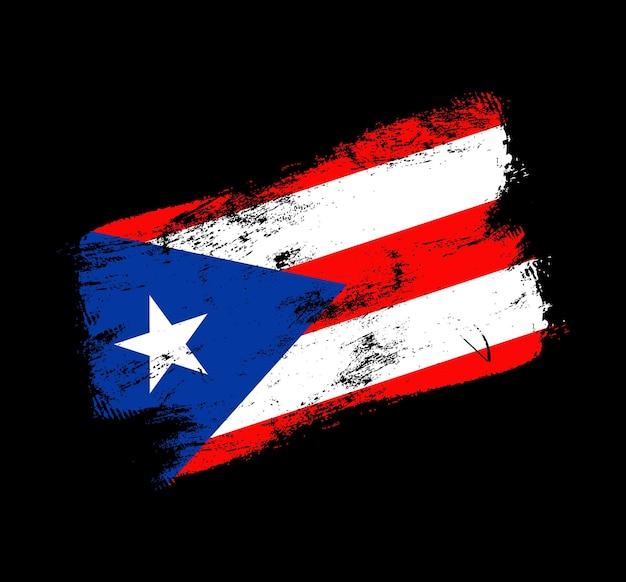 Фон кисти гранж флаг пуэрто-рико. старый флаг кисти векторные иллюстрации. абстрактное понятие национального фона.