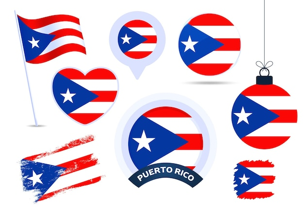 Puerto rico flag vector collection. big set of national flag design elements in different shapes for public and national holidays in flat style.