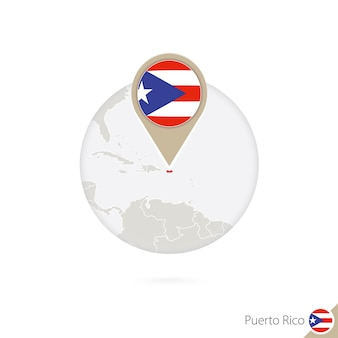Puerto rico map and flag in circle. map of puerto rico, puerto rico flag pin. map of puerto rico in the style of the globe. vector illustration.