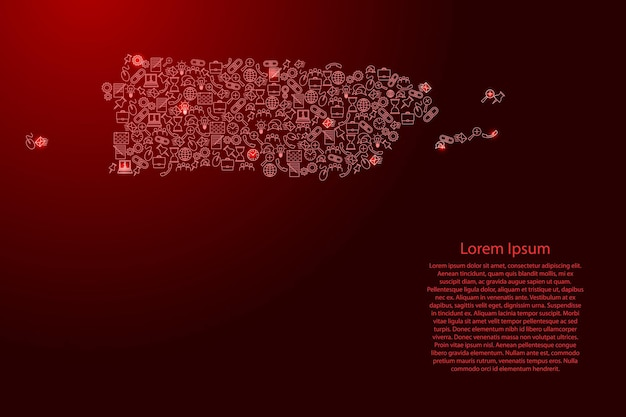 Puerto rico map from red and glowing stars icons pattern set of seo analysis concept or development, business. vector illustration.