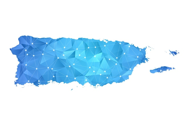 プエルトリコの地図の線の点は多角形の抽象的な幾何学的です。