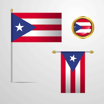 Puerto rico waving flag design with badge vector