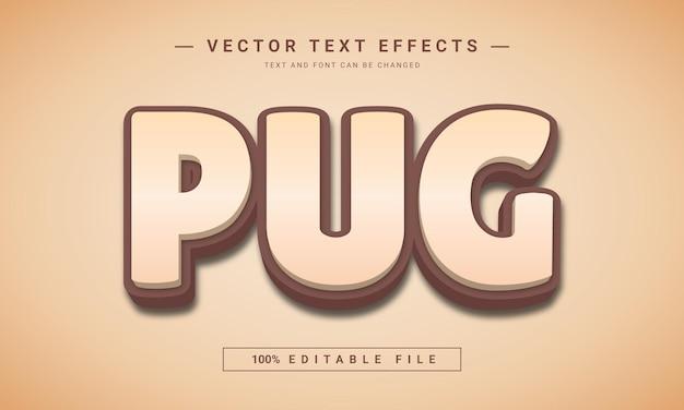 パグ3d編集可能なテキスト効果
