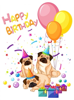 Pug on birthday template