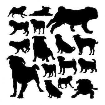 Pug dog animal silhouettes