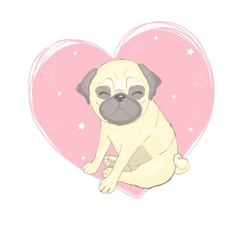 Pug dog cartoon illustration. cute friendly fat chubby fawn sitting pug puppy, smiling with tongue out