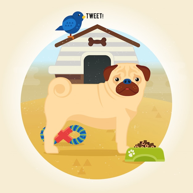 Pug dog cartoon illustration in flat style
