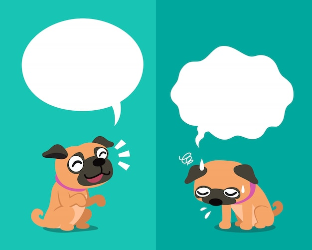 Pug dog expressing different emotions with speech bubbles