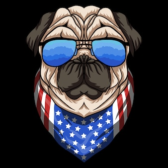 Pug dog eyeglasses illustration