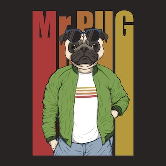 Pug dog fashion illustration