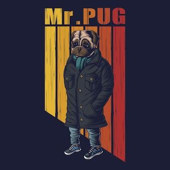 パグ犬のファッションイラスト