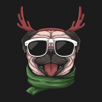 Собака мопса на рождество