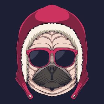 パグ犬の頭の眼鏡のイラスト