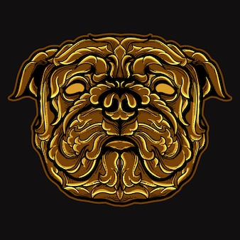 Мопс голова собаки золотой гравировка орнамент