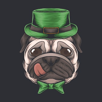 Pug dog head for st. patrick's day