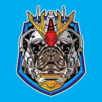 Голова собаки мопса векторная иллюстрация с киберпанк-роботом, изолированным на фоне
