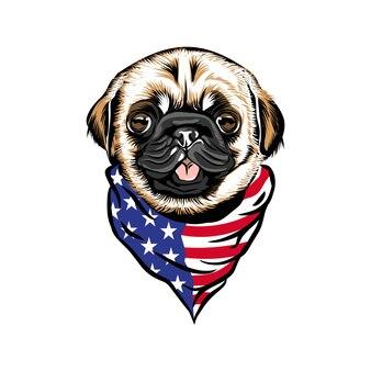 Голова мопса в бандане на шее с американским флагом