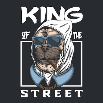 Pug dog king of the street
