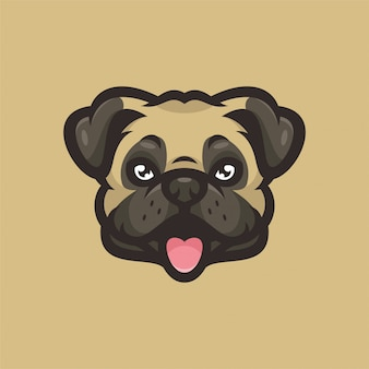 Pug dog mascot head sportsロゴ