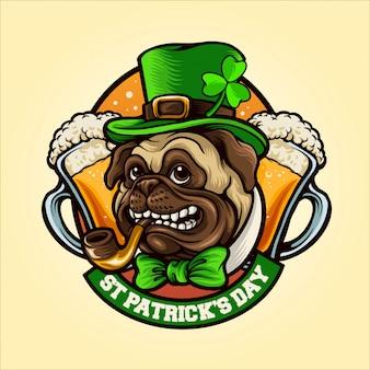 Pug dog mascot for st patrick's day