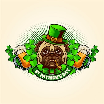 Pug dog mascot for st patrick's day