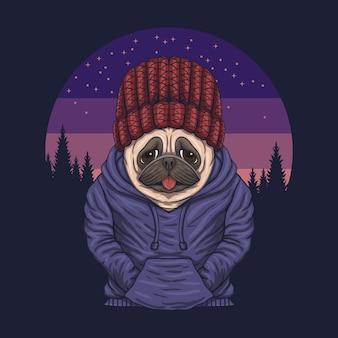 パグ犬の夜のイラスト