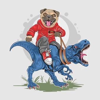Pug dog puppy cute riding t rex динозавр дикий артворк вектор