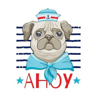 Мопс собака, милый винтажный дизайн печати собаки.