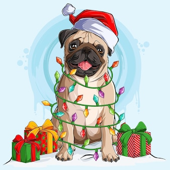 Pug dog in santa hat sitting and surrounded by christmas tree lights and gifts on his sides
