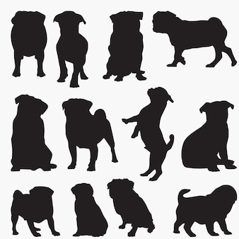 Pug dog silhouettes