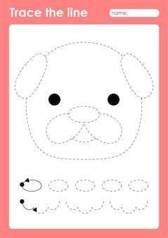 パグ犬-細かい運動技能を練習するための子供のためのトレースライン就学前ワークシート
