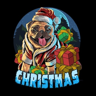 Pug dog wearing santa claus hat in the gift