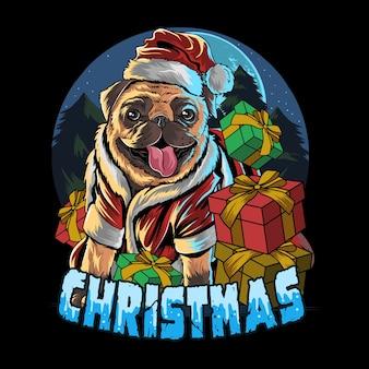 Мопс собака в шапке санта клауса в подарок