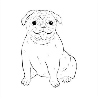 幸せな表情と手描きやスケッチスタイルを使用してパグ犬