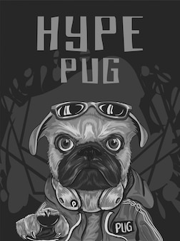 Pug dog with hype style wear red sweeter, sunglasses, headphone, serious look