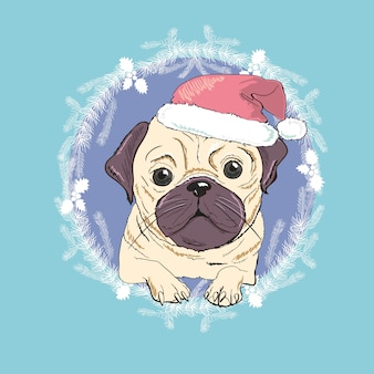 Pug dog with red santa hat illustration