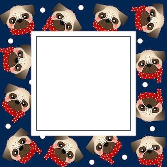 ネイビーブルーバナーカードにレッドスカーフのパグドッグ