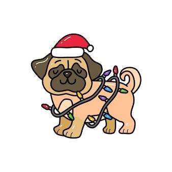 Мопса, завернутые в рождественский свет в стиле рисования каракули. рисунок животных