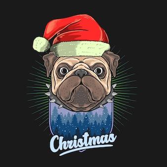 クリスマスの帽子のイラストグラフィックとパグの頭