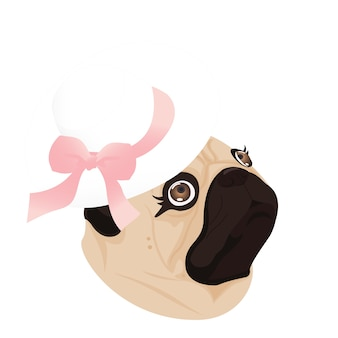 Pug lady dog ribbon