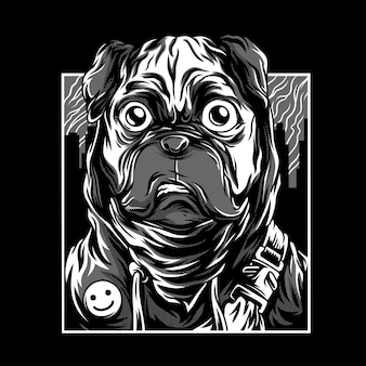Pug life black & white illustration